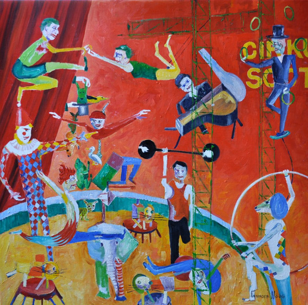 Circus motiv - ett populärt motiv på senare år i Höögs målningar.